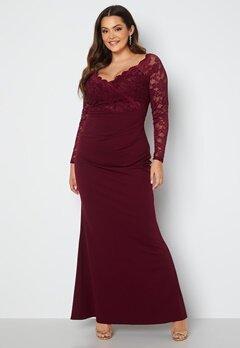 Goddiva Curve Long Sleeve Lace Trim Maxi Dress Dark Wine bubbleroom.fi
