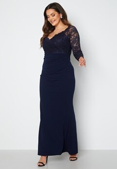 Goddiva Curve Long Sleeve Lace Trim Maxi Dress Navy bubbleroom.fi