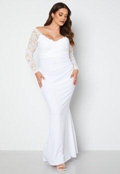 Goddiva Curve Long Sleeve Lace Trim Maxi Dress White bubbleroom.fi