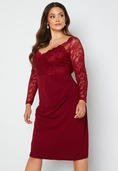 Goddiva Curve Long Sleeve Lace Trim Midi Dress Wine bubbleroom.fi