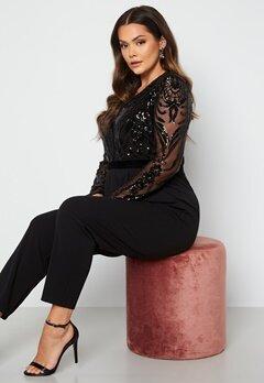 Goddiva Curve Sequin Bodice Jumpsuit Black bubbleroom.fi