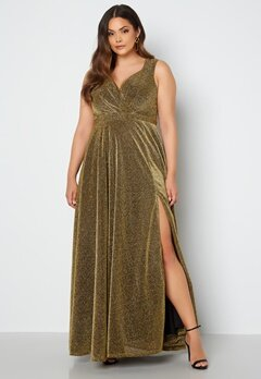 Goddiva Curve Wrap Front Sleeveless Maxi Curve Dress With Split Gold bubbleroom.fi