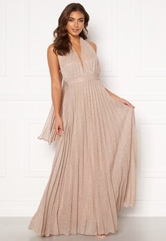 Goddiva Deep V Neck Glitter Dress Blush Bubbleroom.fi