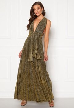 Goddiva Deep V Neck Glitter Dress Gold Bubbleroom.fi