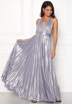 Goddiva Deep V Neck Metallic Dress Lavender Bubbleroom.fi