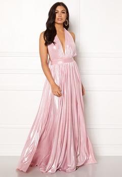 Goddiva Deep V Neck Metallic Dress Pink Bubbleroom.fi