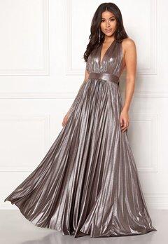 Goddiva Deep V Neck Metallic Dress Silver Bubbleroom.fi