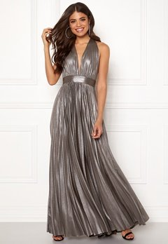 Goddiva Deep V Neck Metallic Dress Silver Bubbleroom.fi