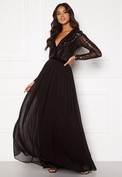 Goddiva Deep V Sequin Maxi Dress Black Bubbleroom.fi