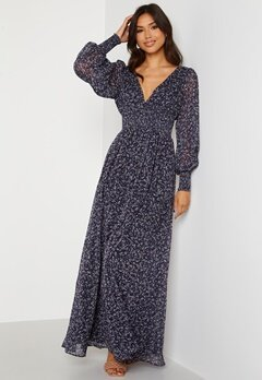 Goddiva Ditsy Long Sleeve Shirred Maxi Dress Navy bubbleroom.fi