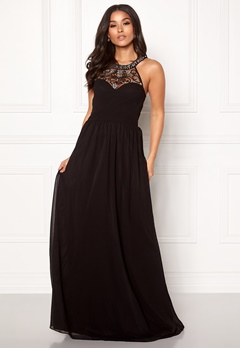 Goddiva Embellished Chiffon Dress Black Bubbleroom.fi