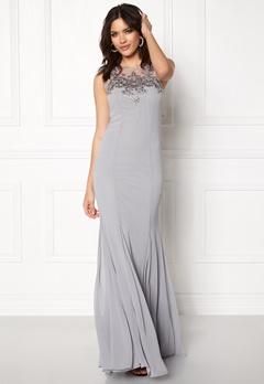 Goddiva Embellished Chiffon Dress Silver Bubbleroom.fi