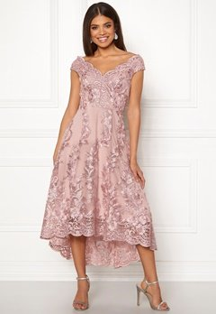 Goddiva Embroidered Lace Dress Blush Bubbleroom.fi