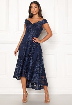 Goddiva Embroidered Lace Dress Navy Bubbleroom.fi