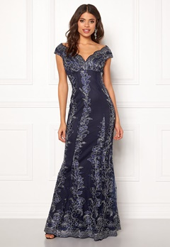 Goddiva Embroidered Lace Dress Navy/silver Bubbleroom.fi