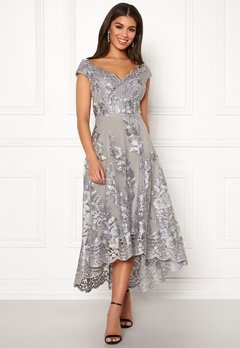 Goddiva Embroidered Lace Dress Silver Bubbleroom.fi