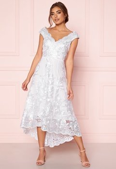 Goddiva Embroidered Lace Dress White Bubbleroom.fi