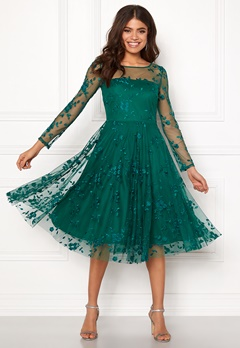 Goddiva Embroidered Midi Dress Emerald Bubbleroom.fi