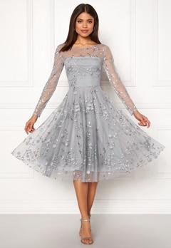 Goddiva Embroidered Midi Dress Grey Bubbleroom.fi