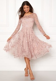Goddiva Embroidered Midi Dress Misty Rose Bubbleroom.fi