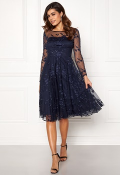Goddiva Embroidered Midi Dress Navy Bubbleroom.fi