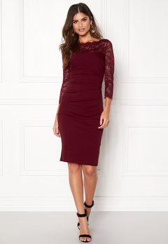 Goddiva Fitted Midi Dress Wine Bubbleroom.fi