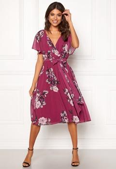Goddiva Floral Flutter Midi Dress Berry Bubbleroom.fi