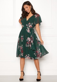 Goddiva Floral Flutter Midi Dress Green Bubbleroom.fi
