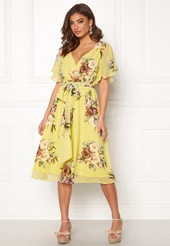 Goddiva Floral Flutter Midi Dress Soft Lemon Bubbleroom.fi