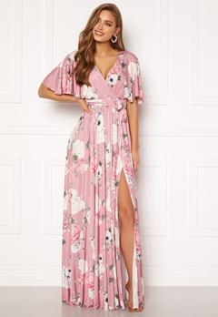 Goddiva Floral Flutter Sleeve Maxi Dress Blush Bubbleroom.fi
