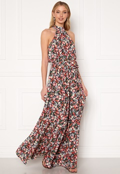 Goddiva Floral High Neck Maxi Dress Black Bubbleroom.fi