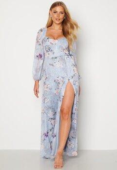 Goddiva Floral Long Sleeve Maxi Dress Blue bubbleroom.fi