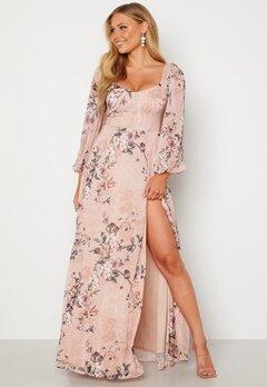 Goddiva Floral Long Sleeve Maxi Dress Blush Bubbleroom.fi