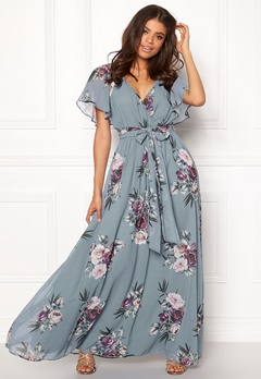 Goddiva Floral Sleeve Maxi Dress Air Force Blue Bubbleroom.fi
