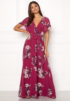Goddiva Floral Sleeve Maxi Dress Berry Bubbleroom.fi