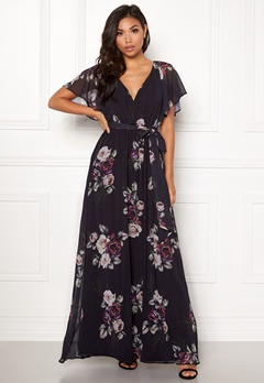 Goddiva Floral Sleeve Maxi Dress Black Floral Bubbleroom.fi