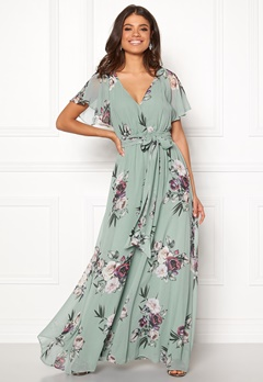 Goddiva Floral Sleeve Maxi Dress Duck Egg Bubbleroom.fi