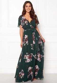 Goddiva Floral Sleeve Maxi Dress Green Bubbleroom.fi