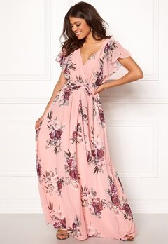 Goddiva Floral Sleeve Maxi Dress Peach Bubbleroom.fi