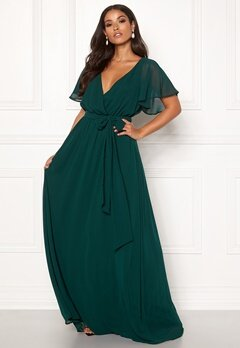 Goddiva Flutter Chiffon Dress Dark green Bubbleroom.fi