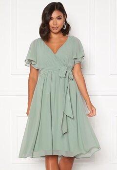 Goddiva Flutter Chiffon Dress Sage Green Bubbleroom.fi