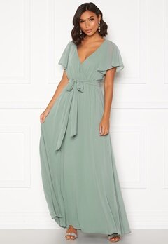 Goddiva Flutter Chiffon Dress Sage Green Bubbleroom.fi