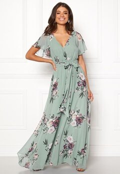Goddiva Flutter Floral Maxi Dress Duck Egg Bubbleroom.fi