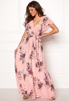 Goddiva Flutter Floral Maxi Dress Peach Bubbleroom.fi