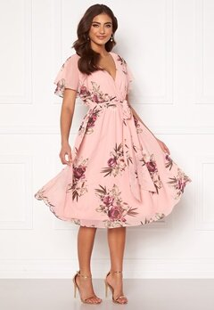 Goddiva Flutter Floral Midi Dress Peach Bubbleroom.fi