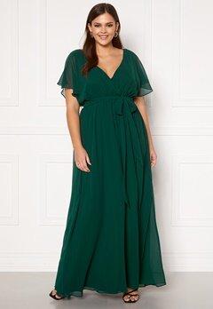 Goddiva Curve Flutter Sleeve Chiffon Maxi Curve Dress Green Bubbleroom.fi