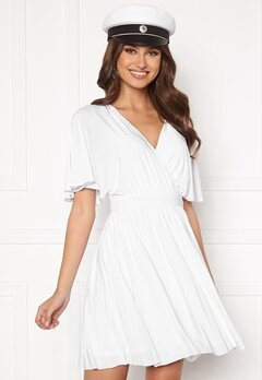 Goddiva Flutter Sleeve Dress White Bubbleroom.fi