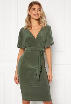 Goddiva Flutter Sleeve Fitted Midi Dress Khaki Bubbleroom.fi
