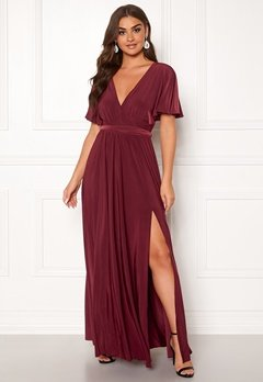 Goddiva Flutter Sleeve Maxi Dress Berry Bubbleroom.fi