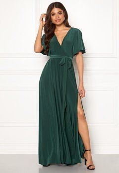 Goddiva Flutter Sleeve Maxi Dress Botanical Green Bubbleroom.fi